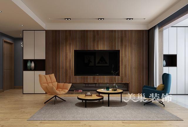 用木条做的电视背景墙,真的很独特,房子整体装修的也很奶思