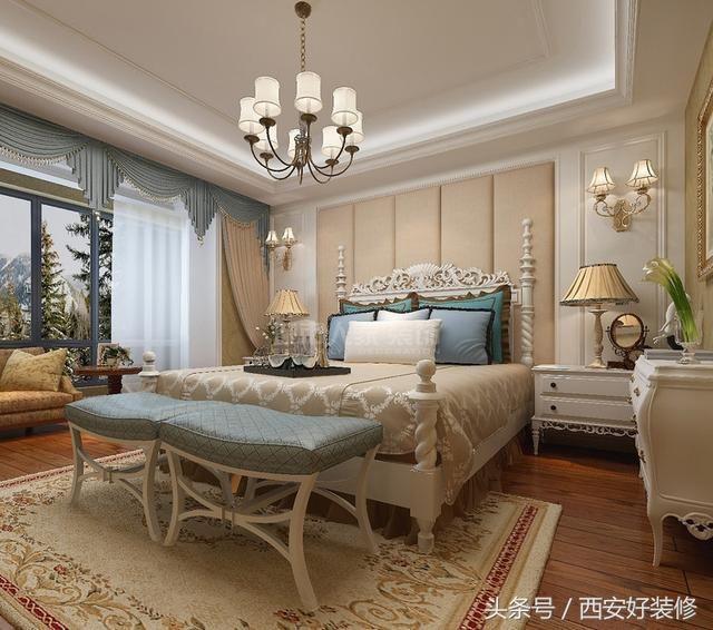 卧室整体色调温和,矩形石膏墙与米色软包背景墙带来几何之美,床与新