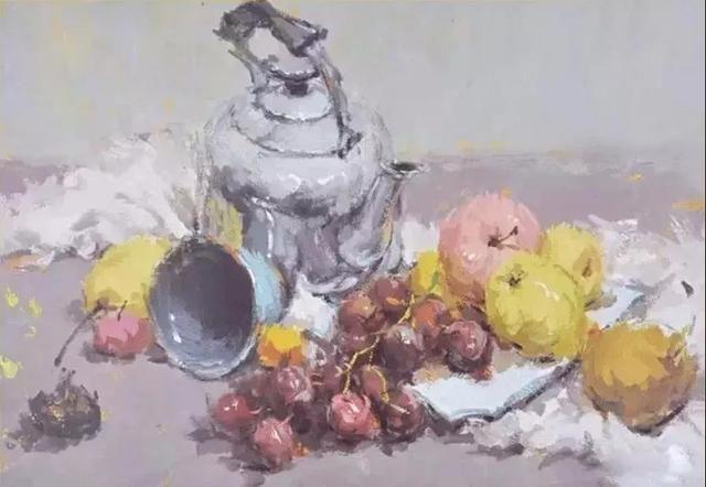 水粉颜料画之不锈钢水壶