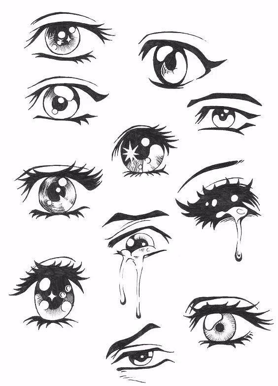 哭着的眼睛是流泪的~ 来学画一下 用画笔画出来的漫画眼睛 一共30张图