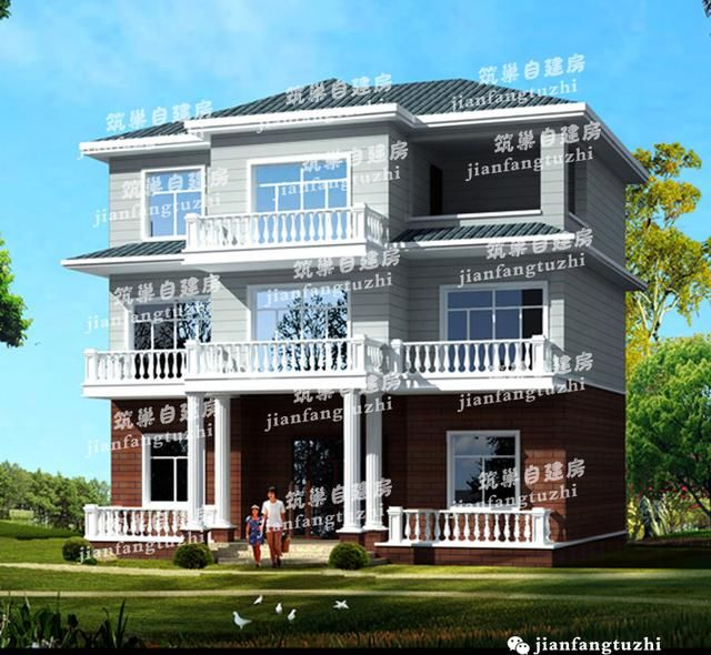 12x9三層別墅,老人房+走廊+多陽臺,農村自建房首選(全設計圖)圖片