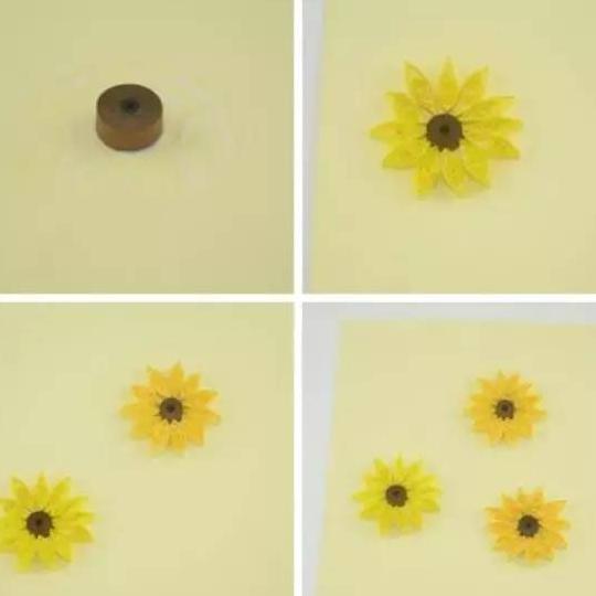 将做好的向日葵花心和花瓣组合粘贴到准备好的硬卡纸上.