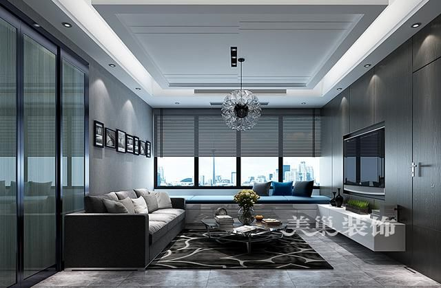 东阔泰和1室2厅现代装修样板间设计方案——客厅布局.