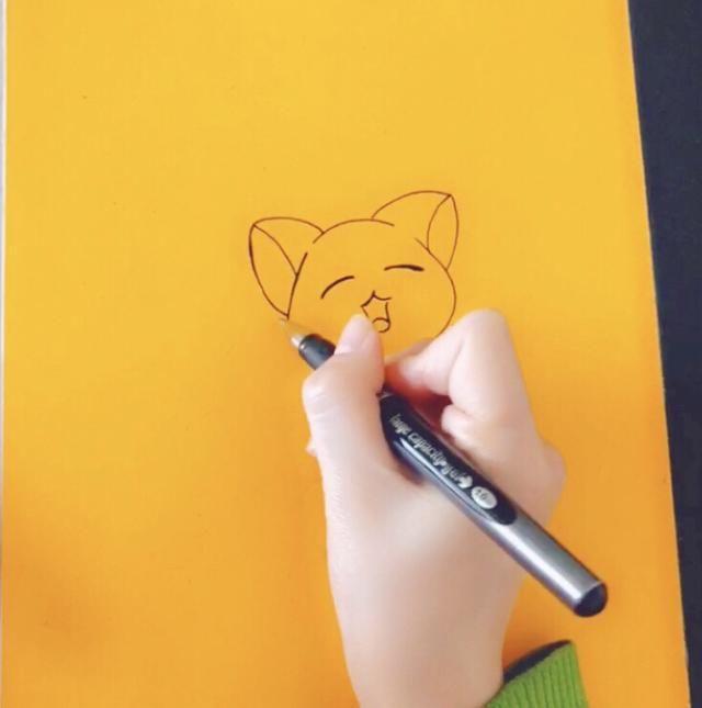 手账简笔画素材-1分钟教你学会可爱猫咪的画法