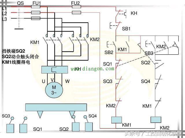 一,行程开关控制的电动机自动往返控制电路参考图.