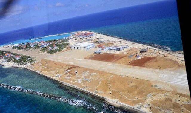 南沙群岛最新填海囹�a_公布了越南对南海实际控制的10个南沙群岛岛礁进行非法填埋的航拍图.