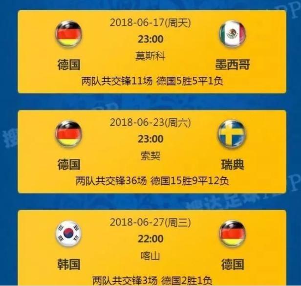 德国队俄罗斯世界杯分组及小组赛赛程