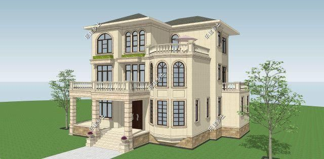 三层欧式别墅设计,14x14米,优雅大方,处处精致!