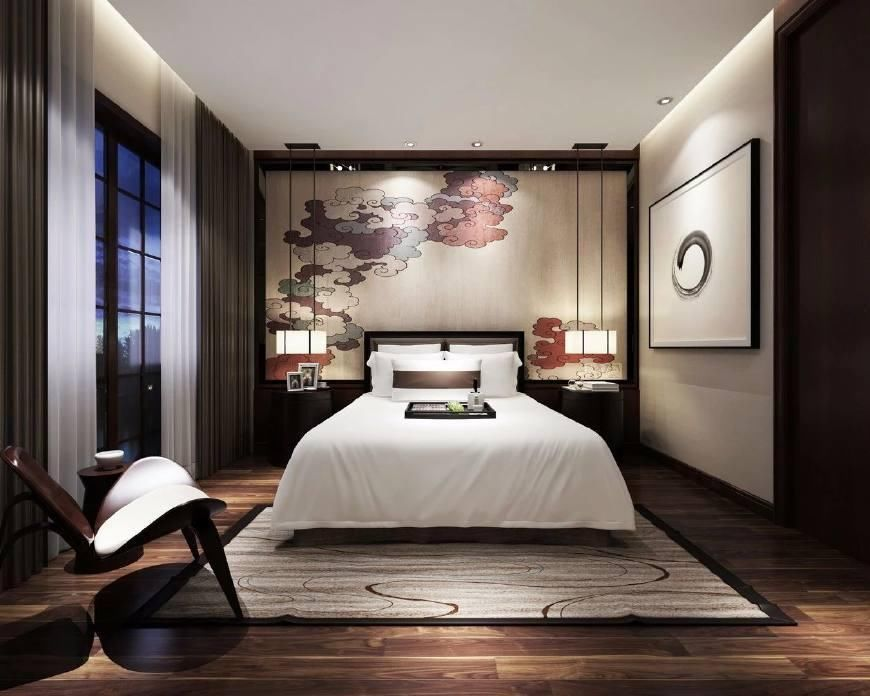 新中式卧室, 传统元素在现代背景下的演绎, 整个空间氛围典雅而不乏图片