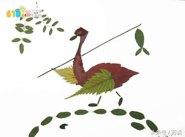 教育 正文  秋天diy:可爱简单的树叶贴画 小鹿 小鸟和鸟妈妈 飞翔的鸟
