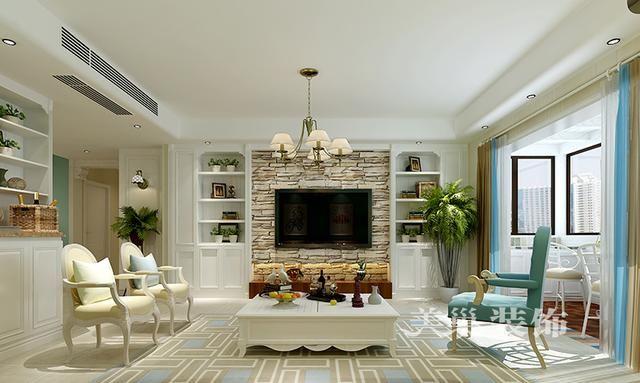西郡原著140平装修四室两厅地中海风格——电视背景墙,欧式造型的墙面