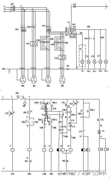 其中:按钮8个,行程开关5个,转换开关1个(3个位置),共计输入点数16个