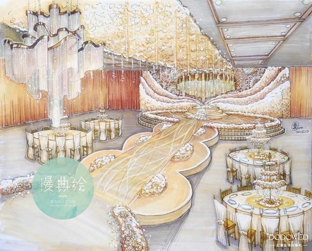 ume宴会设计联盟纸面手绘婚礼效果图 铅笔构思,针管笔描线,马克笔上色