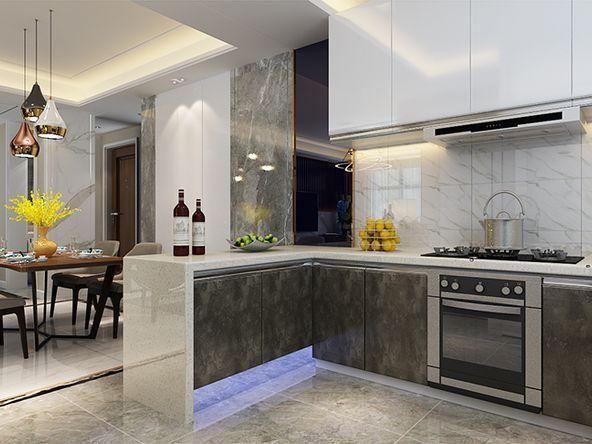开放式厨房设计,小吧台及旁边餐厅一起形成整个互动交流的空间,采光极
