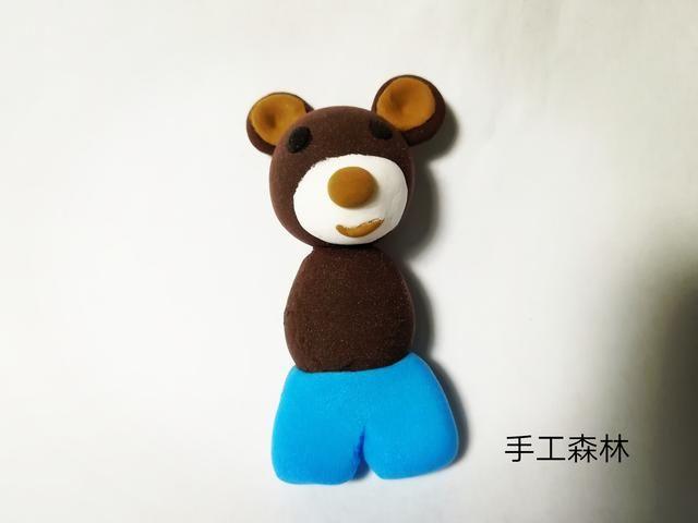 超轻粘土手工制作教程图解穿背带裤的小熊
