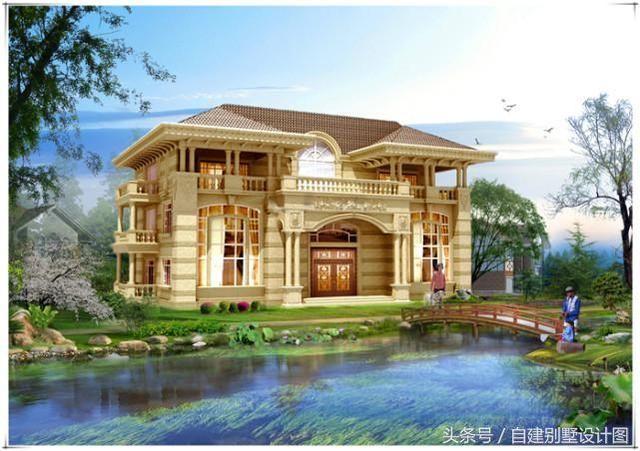 房子外观为简欧风格三层别墅设计方案,大厅中空,外墙配色风格偏欧式图片