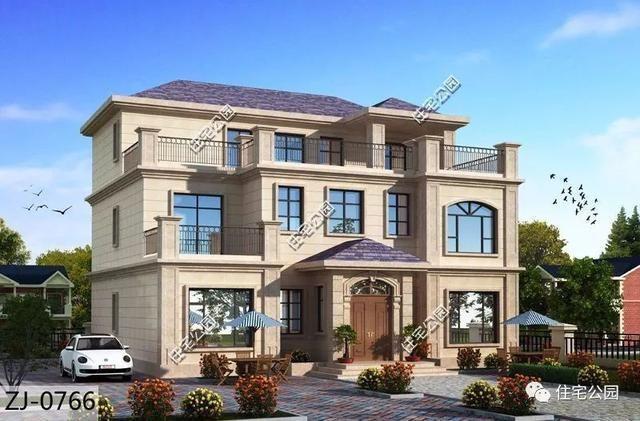 14x14米经典欧式别墅, 挑空客厅,大露台和观景凉亭一个都不少
