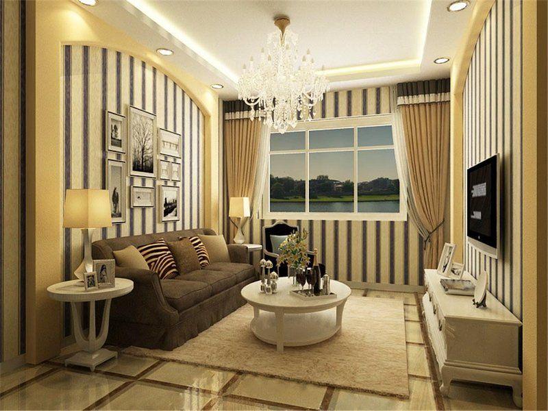 电视背景墙采用了拱形的造型和沙发背景墙对称,线条较欧式更加简化.