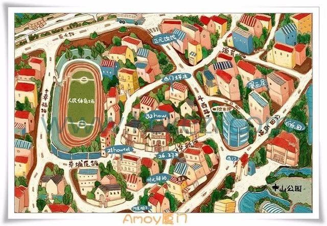 厦门各个景点的手绘地图,太酷炫了!各种风格,值得拥有