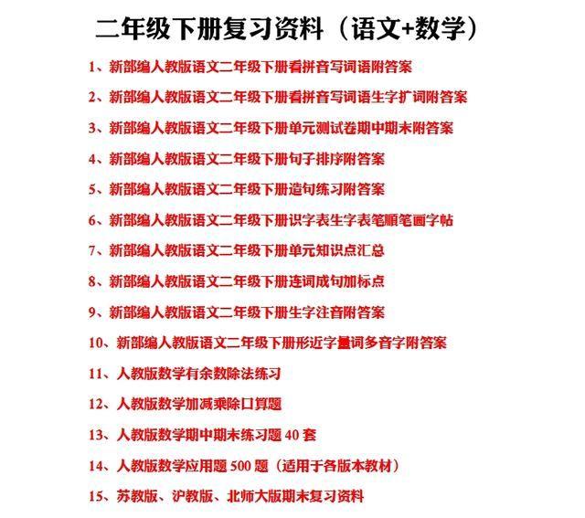 江苏苏教版语文二年级下册期末语文复习资料汇总
