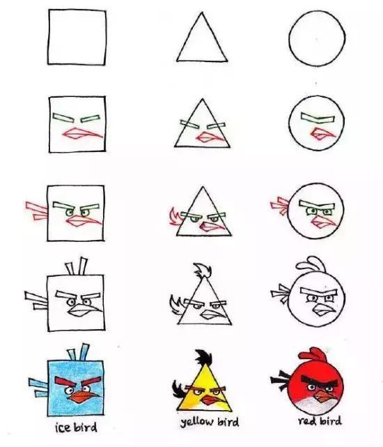 儿童简笔画:三种几何平面图形,轻松教孩子画动物,颠覆想象力
