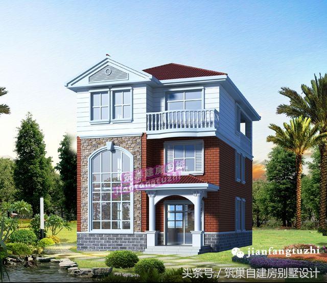 9x13农村三层小户型自建房设计图纸欧式别墅效果图施工图