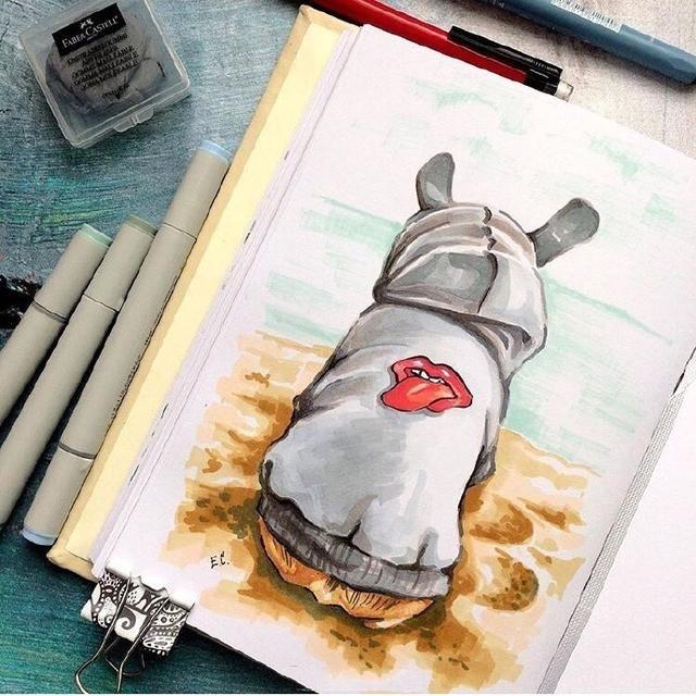 用马克笔画一组q版萌图,喜欢马克笔手绘的看过来
