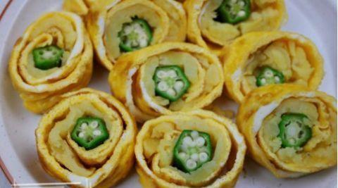 秋葵新吃法,卷成卷切一切,做成早餐精致又好吃,您也试试吧