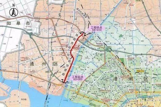 铁路西站站前快速路(含双y立交)工程项目位于南通通州区,南起于长江路