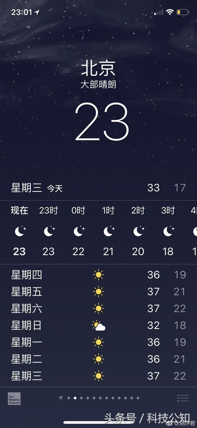 iphone手机自带天气app的ui图片