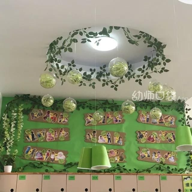 森林系的教室,绿色清新,原木色自然,搭配起来特别和谐好看!图片