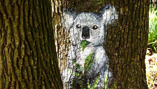"""摘要:上海共青森林公园内突然多出了十几只""""动物"""",类似的森林彩绘"""