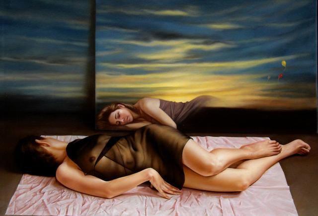 亚洲美女裸体淫�_秘鲁画家:逼真的超写实美女人体油画