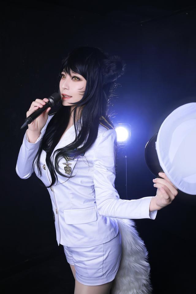 LOL吊带蕾丝九尾丝袜阿狸Ahri性感美女妖狐美情趣联盟美女英雄透明图片