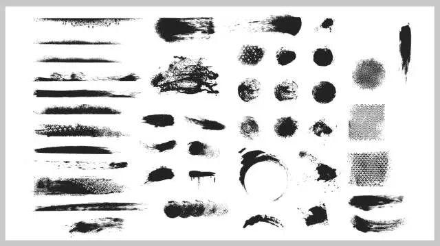 然后将这些素材导入到ppt中,通过形状填充图片,就可以制作出笔刷效果