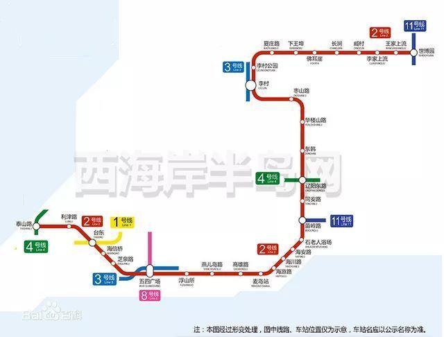 全能式线路——地铁1号线不仅能轻松到达青岛站,青岛北站,流亭机场