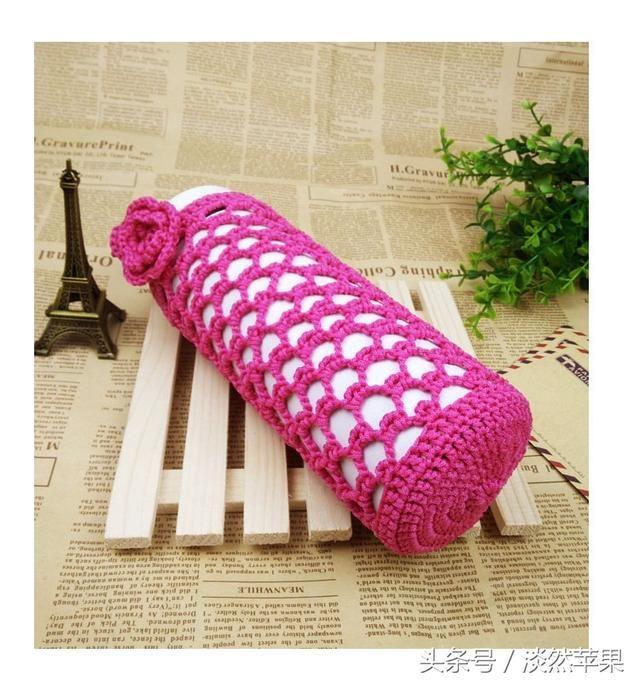 纯手工钩针编织~糖果色镂空杯套,甜美温馨,青春可爱,有花样图解