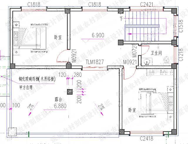 1510米2厅6卧三层农村自建房设计图,多露台设计造价25