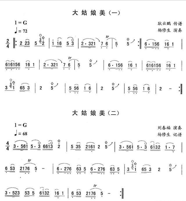 简谱 东北二人转10首选段曲谱,来看看这些二人转你有没有见过