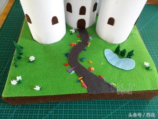 幼儿园创意手工diy必备,将卡通城堡画变成真实立体玩具,宝妈收