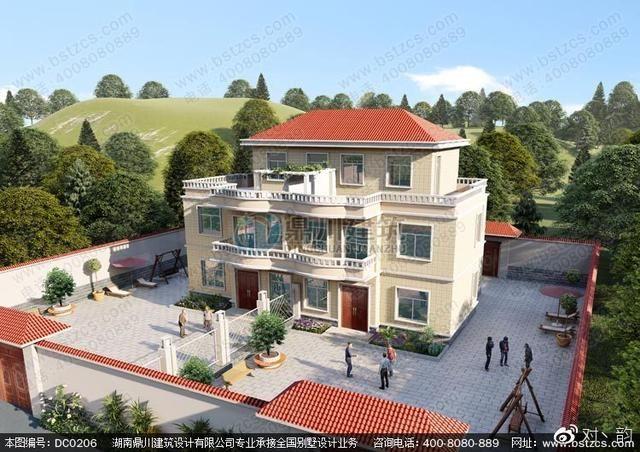 双拼别墅设计_农村二层半双拼自建房设计效果图
