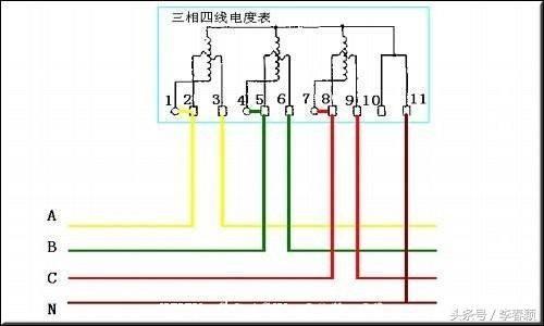 三相四线制有功电度表带电流互感器带电流表带电压互感器接线原理图