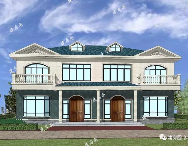 乡村小别墅设计双拼带大阳台 老虎窗15.6mx11.8m两层清新小别墅图片