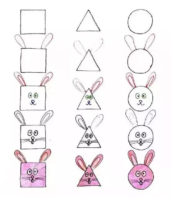 教您用正方形,三角形与圆形画出不同的动物.