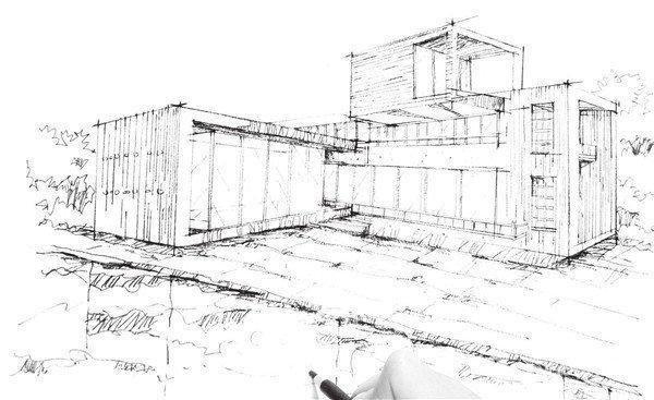速写优雅会所的绘制步骤十七 现代建筑一般是混凝泥土框架结构,所以