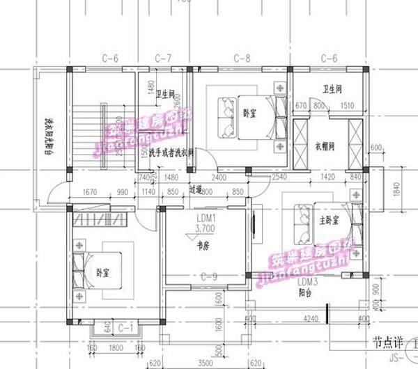 漂亮二层农村自建别墅设计图,凸窗 斜坡屋顶 老人房