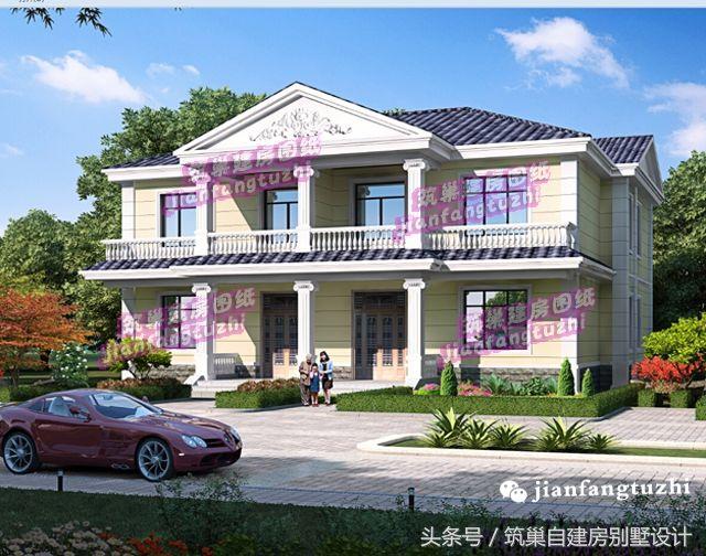 农村小二层双拼别墅设计图乡村二层两户自建房效果图施工图