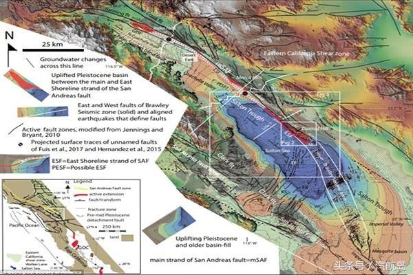 6月15日据《地球科学世界》报道称,美国地质调查局的科学家在绘制加利福尼亚州的圣安地列斯断层详细地质结构图时,新发现了一条长约25公里的Durmid阶梯结构断层线,属于一种破裂粉碎式断层。地震学家琼斯警告称:这种岩石断裂地质结构的出现,犹如大地震定时爆发器,无法预测。科研人员通过计算机模拟分析得出,在未来30年内,该区域将发生超7.