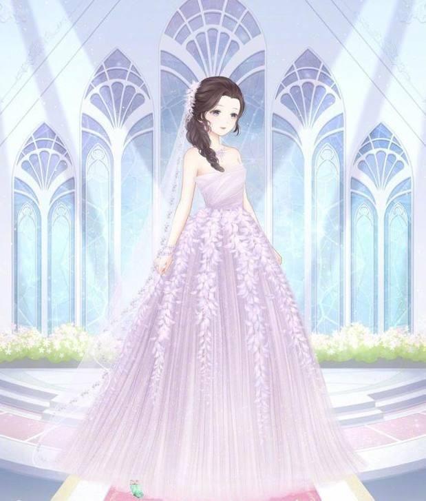 梦幻紫色的婚纱,传统的设计,穿在暖暖的身上异常漂亮,是专属于金牛座