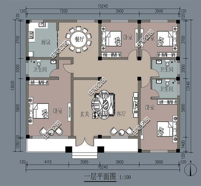 12x13米农村屋设计图